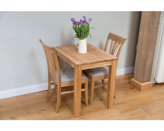 Minsk Oak 60cm Table and 2 Victoria Linen Chairs