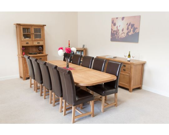 280cm Country Oak X Leg Oval 10 Titan Brown Leather Chairs