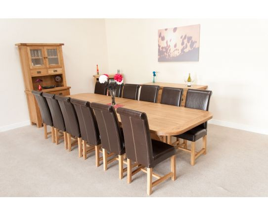 Country Oak 340cm Oval Table and 12 Titan Brown Chairs