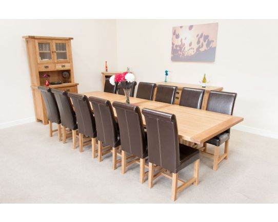 Country Oak 340cm Table and 12 Titan Brown Chairs Set