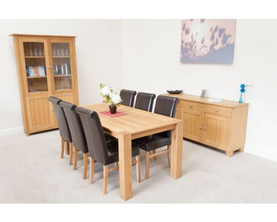 Cambridge 180cm Oak Table 6 Emperor Brown Leather Chairs Set - SUMMER SALE