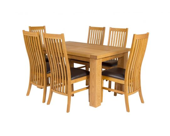 Riga 140cm Oak Table 6 Lichfield Brown Leather Oak Chair Set