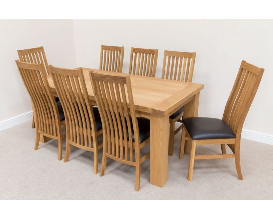 Riga 1.8m Oak Dining Table 8 Lichfield Brown Leather Chairs Set