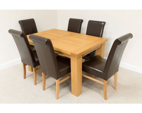Riga 1.4m Oak Table 6 Emperor Brown Leather Chairs Set