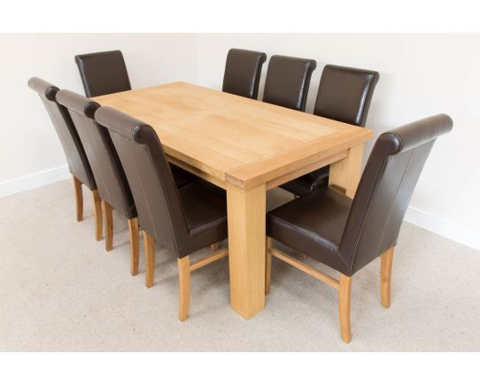 Riga 180cm Oak Table 8 Emperor Brown Leather Dining Chairs Set - SUMMER SALE