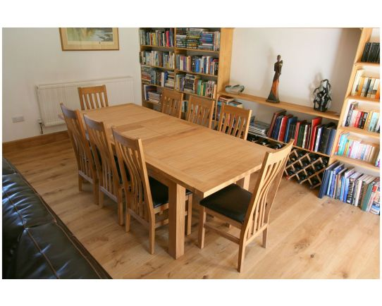 Tallinn 2.0m Oak Table 8 Winchester Black Leather Chairs Set