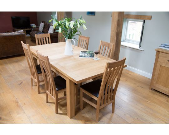 Tallinn 200cm Extending Oak Table 6 Winchester Black Leather Chairs - SUMMER SALE