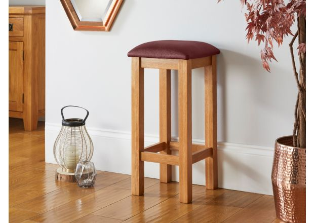 Red Leather Baltic Solid Oak Kitchen Bar Stool - AUTUMN SALE