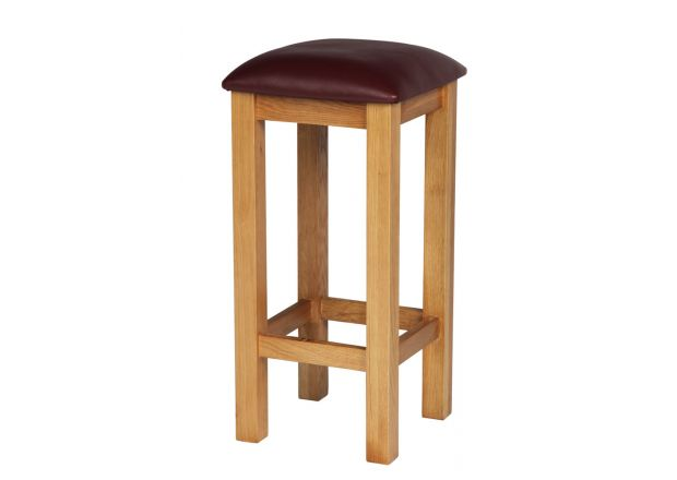 Red Leather Baltic Solid Oak Kitchen Bar Stool - WINTER SALE