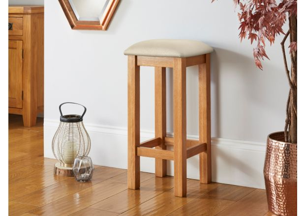 Baltic Solid Oak Cream Leather Small Kitchen Bar Stool - GET 10% OFF WITH CODE SAVE