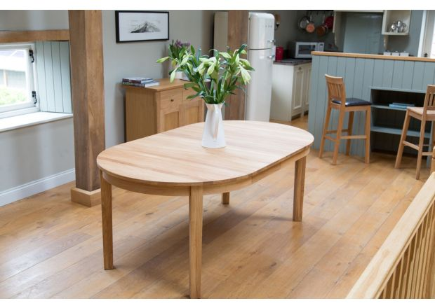 Baltic Premium EU Made Solid Oak Round Double Extending Table 110cm to 190cm - Solid Oak - APRIL MEGA DEAL