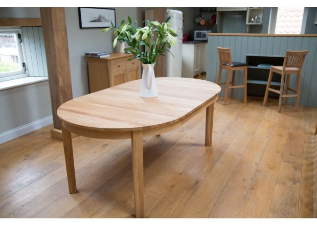 Baltic Premium Round Double Extending EU Made Solid Oak Table 95cm to 175cm