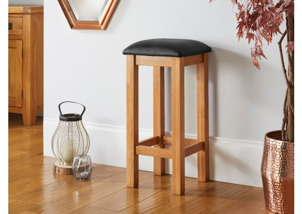 Baltic Solid Oak Kitchen Bar Stool Black Leather - GET 10% OFF WITH CODE SAVE