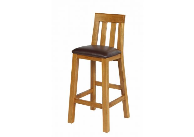 Billy Oak Bar Stool - Brown Leather - WINTER SALE