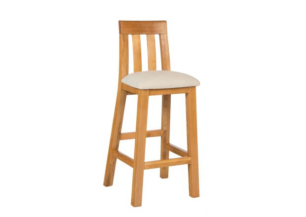 Billy Oak Bar Stool Beige Linen Pad - WINTER SALE