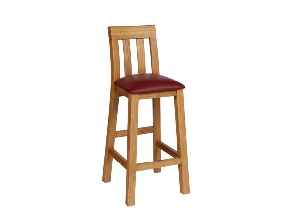Billy Solid Oak Kitchen Stool - Red Leather - AUTUMN SALE