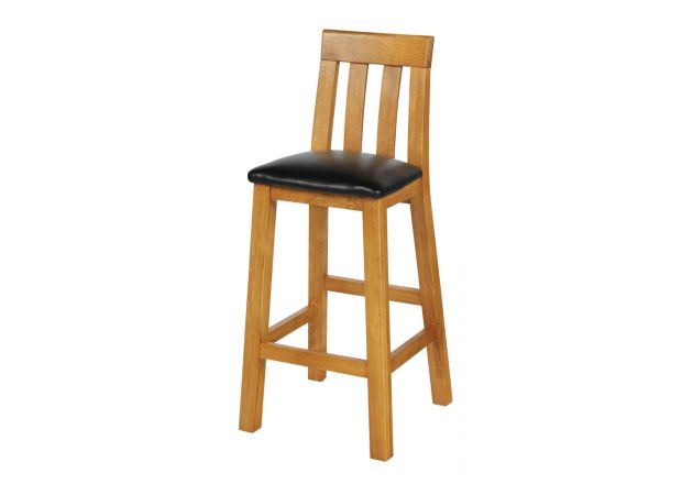 Billy Tall Oak Kitchen Stool - Black Leather - WINTER SALE
