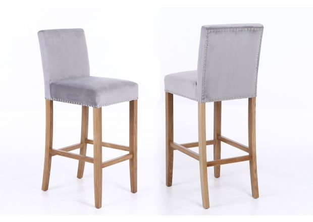 Buckingham Silver Grey Fabric Oak Kitchen Stool