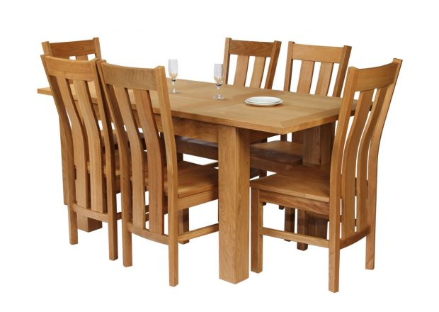 Caravella 170cm Extending Oak Table 6 Churchill Timber Seat Oak Chair Set