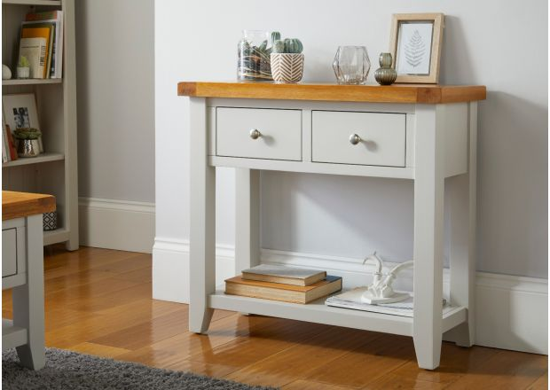 Cheshire Grey Painted 2 Drawer Oak Console Table