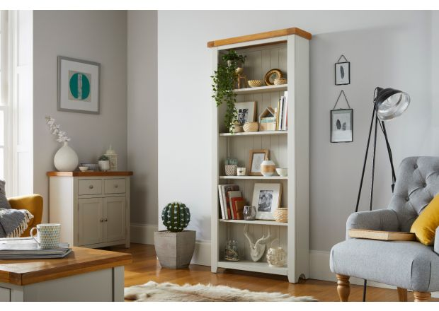 Cheshire Grey Painted Tall Oak Bookcase with adjustable shelves