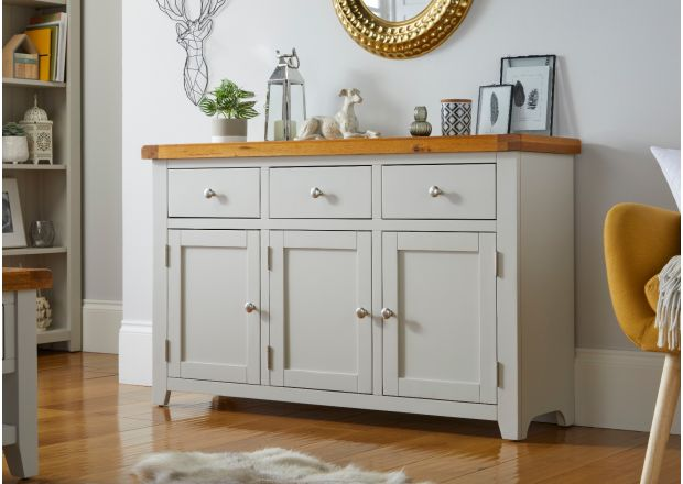 Cheshire Grey Painted 130cm Large Oak Sideboard Storage Drawers