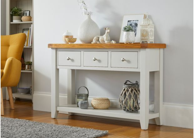 Cheshire Grey Painted 3 Drawer Large Oak Console Table