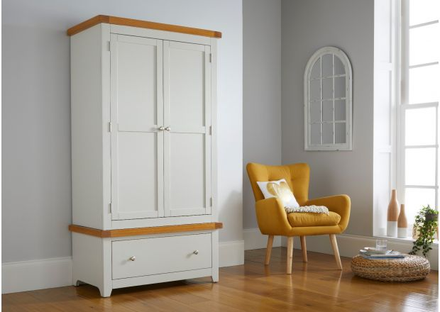 Cheshire Grey Painted Oak Double Wardrobe with Drawer