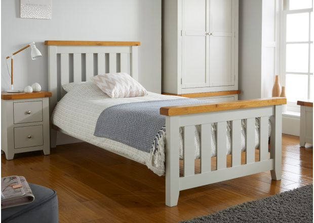 Cheshire Grey Painted Slatted Oak 3 Foot Single Childrens Bed