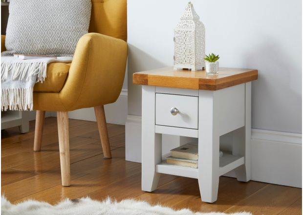 Cheshire Grey Painted Oak Lamp Table with Drawe