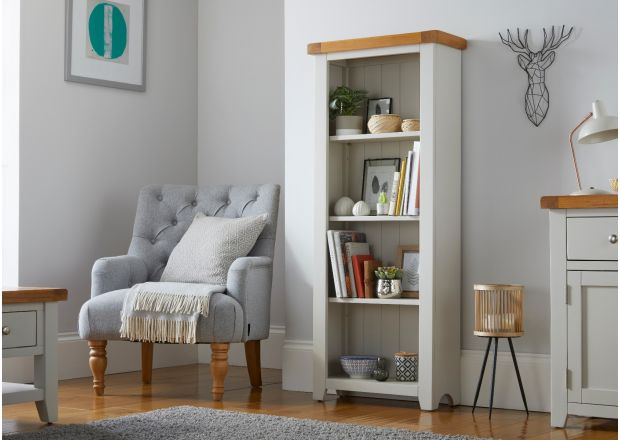 Cheshire Grey Painted Narrow 60cm Oak Bookcase