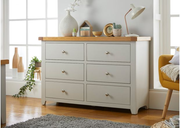 Cheshire Grey Painted 6 Drawer Large Oak Chest of Drawers