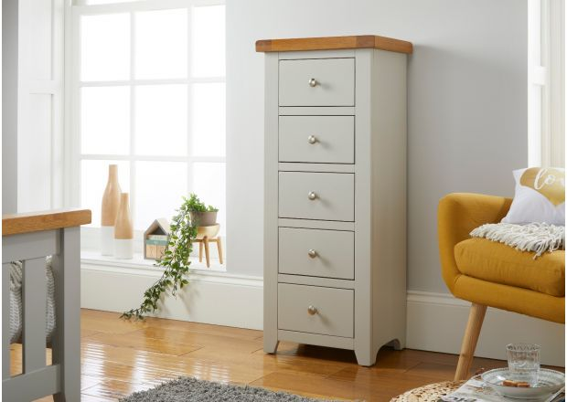 Cheshire Grey Painted 5 Drawer Tallboy Oak Chest of Drawers