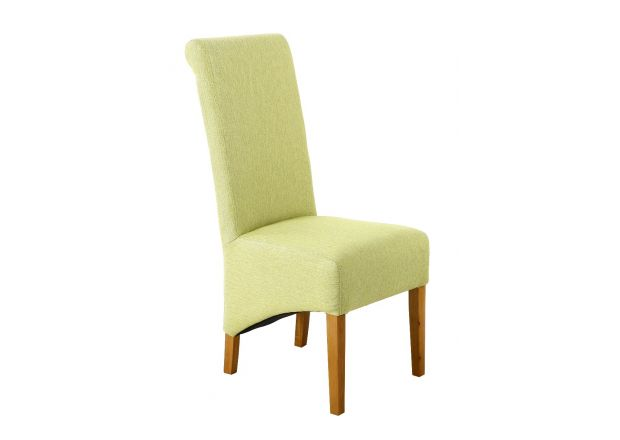 Chesterfield Lime Green Herringbone Fabric Dining Chair with Oak Legs