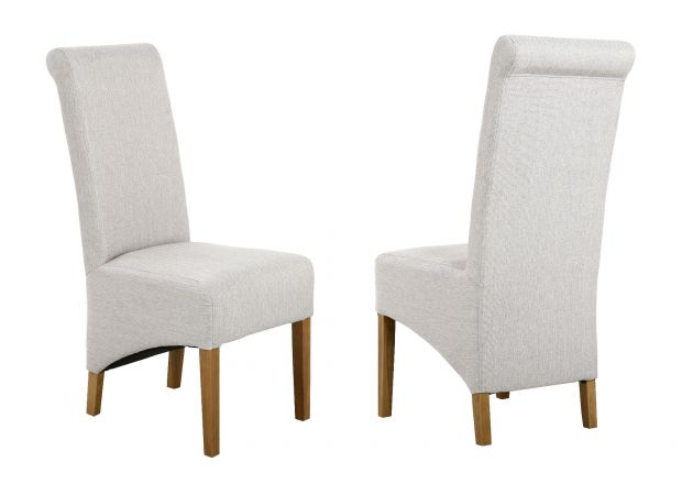 Chesterfield Cappuccino Herringbone Fabric Dining Chair with Oak Legs - APRIL MEGA DEAL