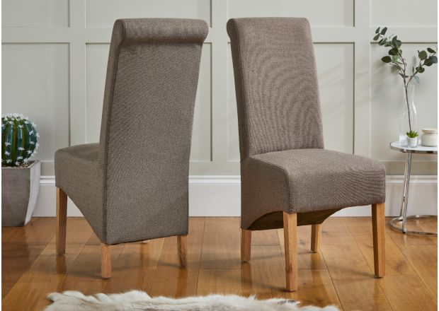 Chesterfield Brown Herringbone Fabric Dining Chair Oak Legs