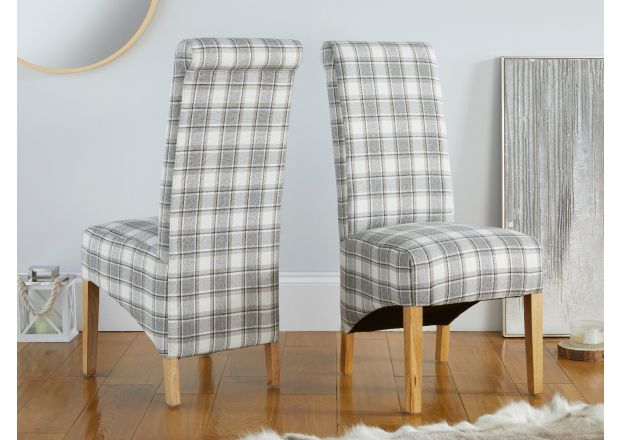Chesterfield Check Cappuccino Herringbone Fabric Dining Chair with Oak Legs - APRIL MEGA DEAL