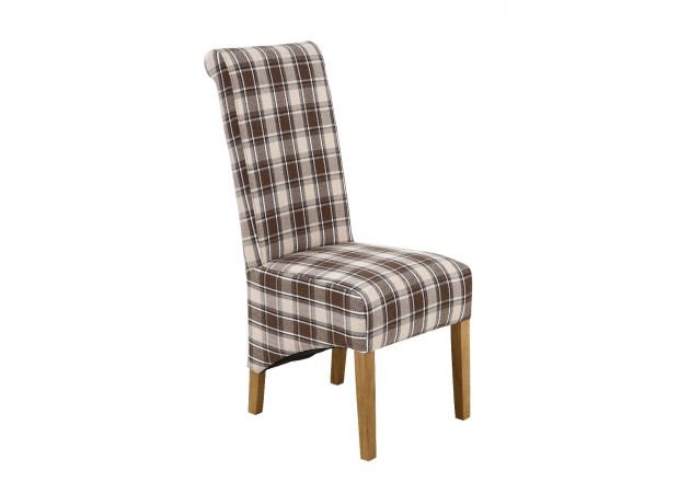 Chesterfield Check Brown Herringbone Fabric Dining Chair with Oak Legs