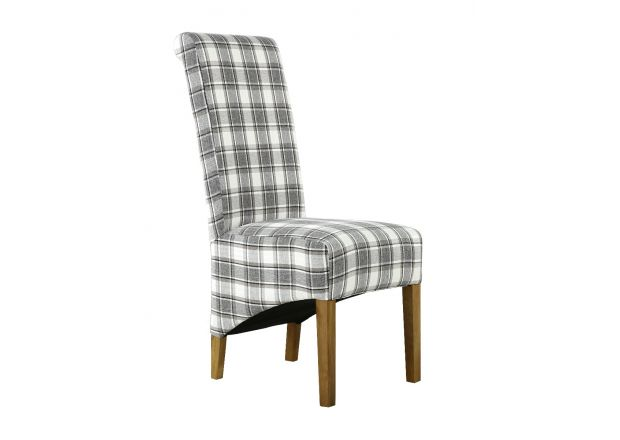 Chesterfield Check Cappuccino Herringbone Fabric Dining Chair with Oak Legs - AUTUMN SALE