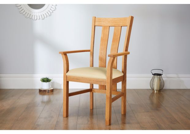 Churchill Cream Leather Oak Carver Dining Chair - SUMMER SALE