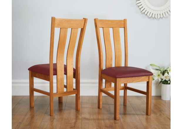 Churchill Solid Red Leather Oak Dining Room Chair - AUGUST MEGA DEAL