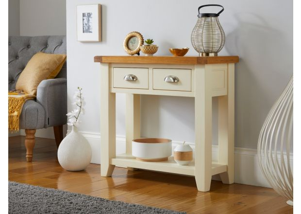 Country Cottage Cream Painted 2 Drawer Console Table
