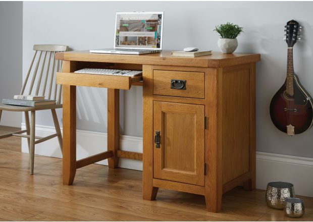 Country Oak Single Pedestal Computer Desk - AUTUMN SALE