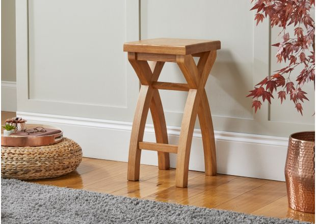 Country Oak Cross Leg Solid Oak Kitchen Stool - GET 10% OFF WITH CODE SAVE