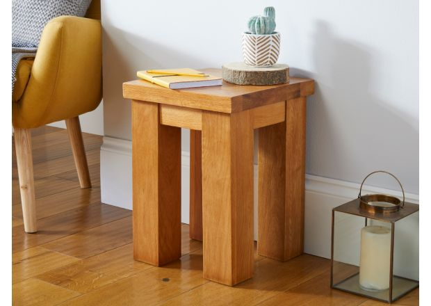 Country Oak 35cm Chunky Square Small Oak Bench Stool