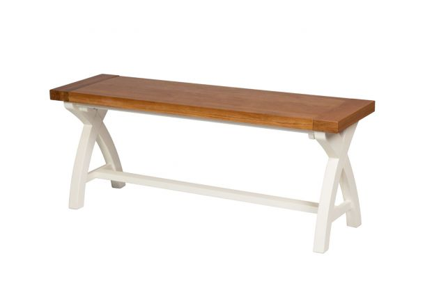 Cream Painted 1.2m Oak Dining Bench - Cross Leg - BLACK TAG SALE