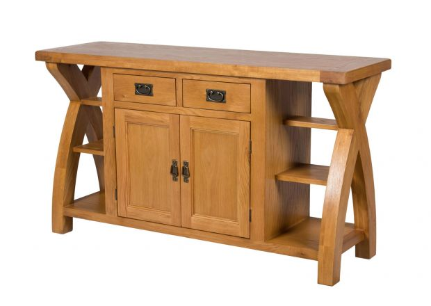 Country Oak 150cm Cross Leg Oak Sideboard - SPRING SALE