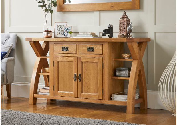 Country Oak 150cm Cross Leg Oak Sideboard Storage Unit