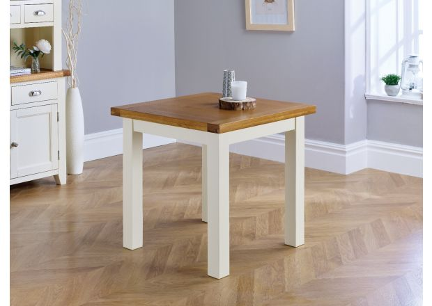 Country Oak 80cm Cream Painted Square Oak Dining Table / Desk - GET 10% OFF WITH CODE SAVE