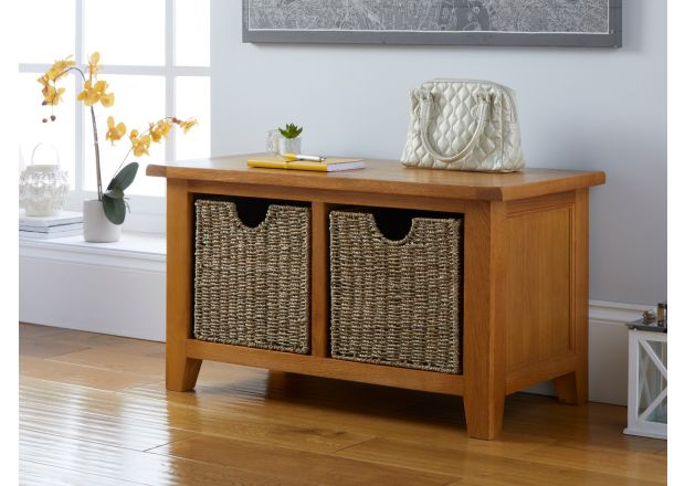 Country Oak Hallway Shoe Storage Bench 2 Wicker Baskets